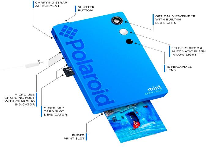 polaroid mint azul